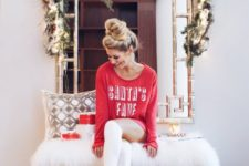15 a red sweatshirt dress and white stockings for a super sexy Christmas look