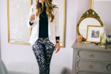 15 black sequin pants, a black turtleneck, a creamy blazer and blakc heels for a chic office party