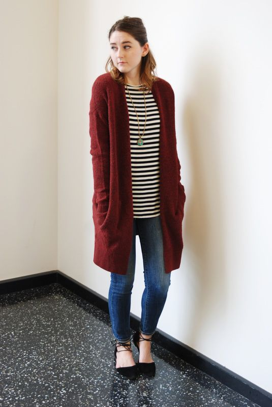 blue skinnies, a striped tee, a long burgundy cardigan and black lace up flats