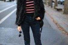 15 navy jeans, a striped turtleneck, a black short faux fur coat, black combat boots