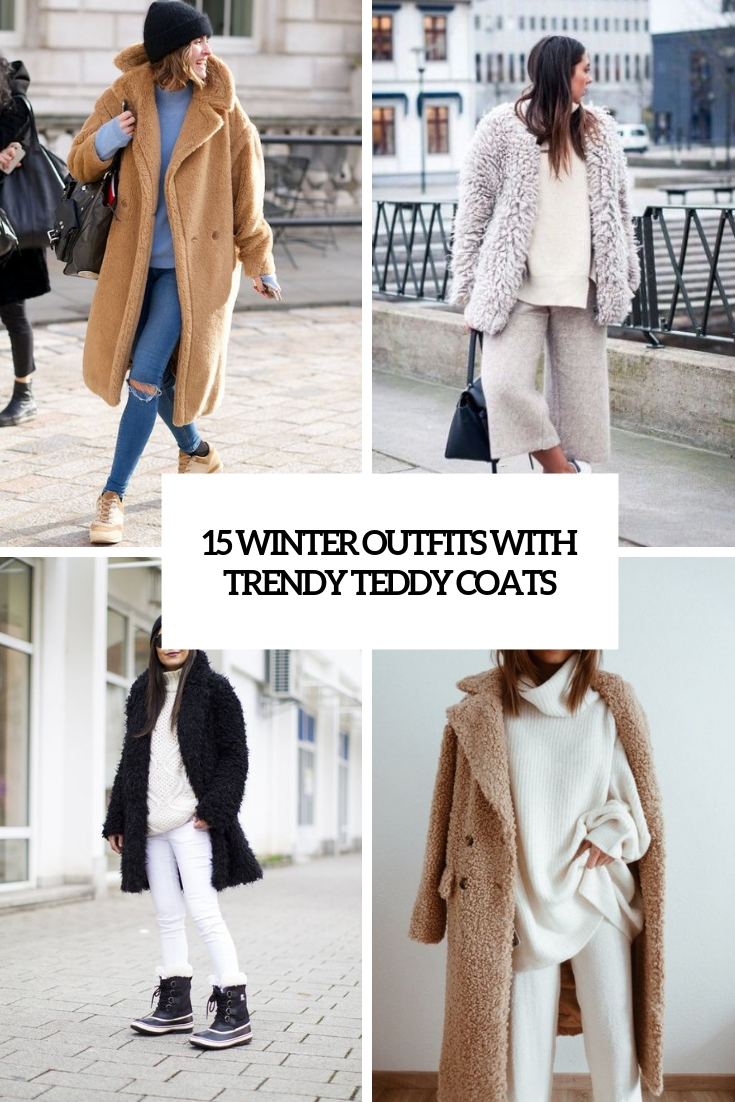 winter outfits with trendy teddy coats cover