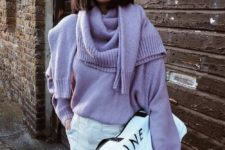 16 an oversized lilac sweater, a matching scarf, a white midi skirt and a large clutch bag