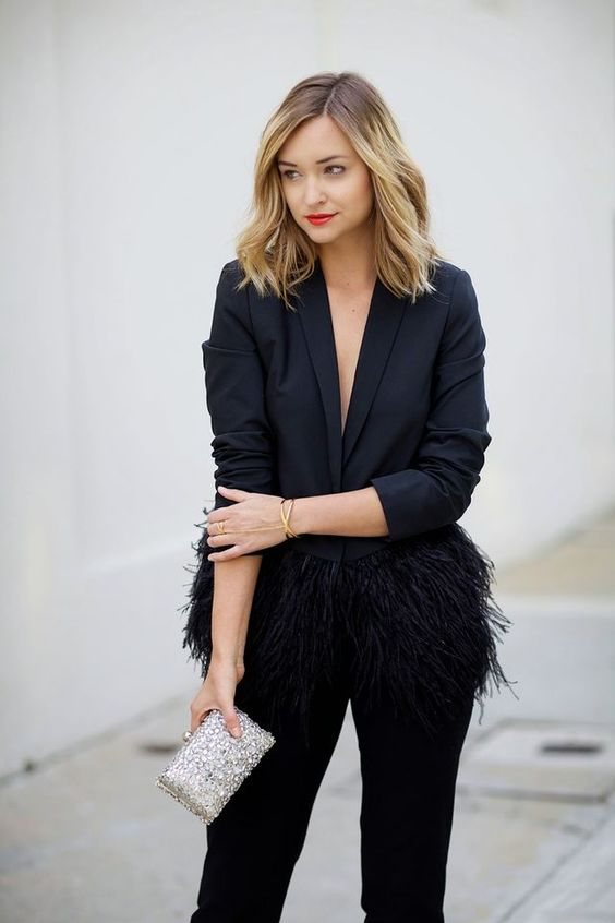 black velvet pants, a black feather blazer and an embellished clutch for a chic look