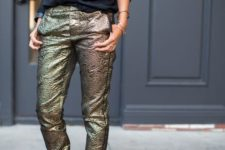 office holiday look with metallic pants