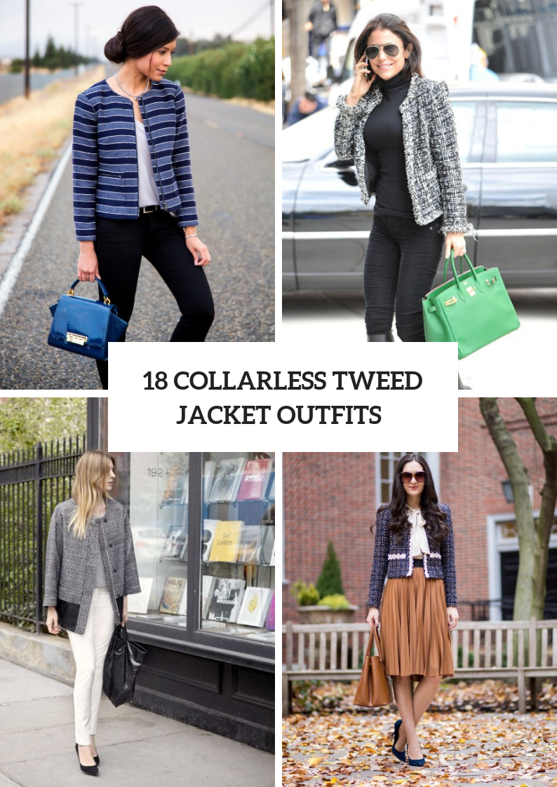 Looks With Collarless Tweed Jackets