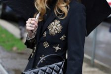 With beret, dress and embellished coat
