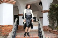 With black and white cardigan, midi skirt and ankle boots
