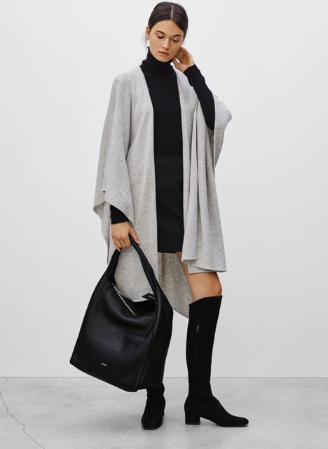 With black turtleneck dress, gray long cardigan and black high boots