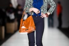 With blue ruffled blouse, skinny pants, printed blazer and high heels