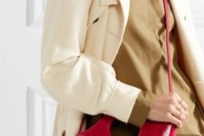 With brown shirt, straight pants and beige trench coat