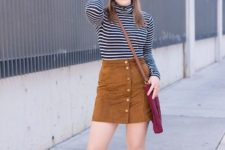 With brown suede skirt, crossbody bag and ankle boots
