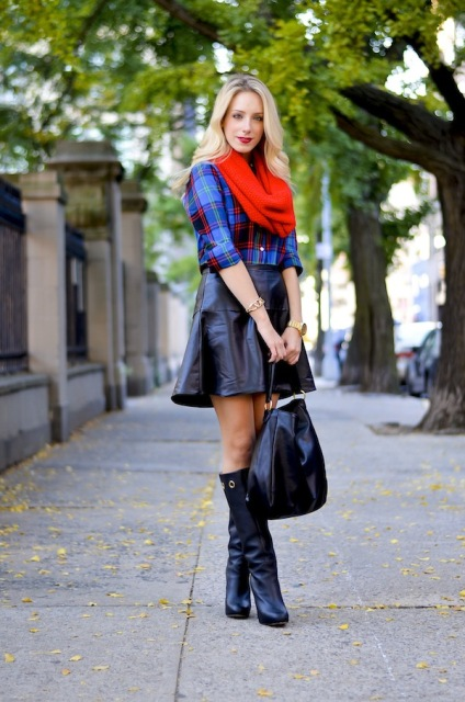With checked shirt, red scarf, leather skirt and high boots