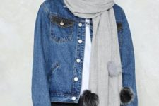 With denim jacket, black trousers and t-shirt