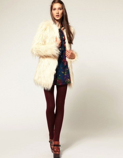 With floral dress, marsala tights and platform boots