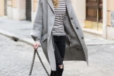 With gray coat, wide brim hat, black bag and high heeled boots