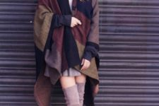 With gray mini dress, plaid cape coat and over the knee boots