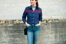 With gray turtleneck, two colored button down shirt, high-waisted jeans and black bag
