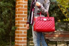 With jeans, red bag and high heels