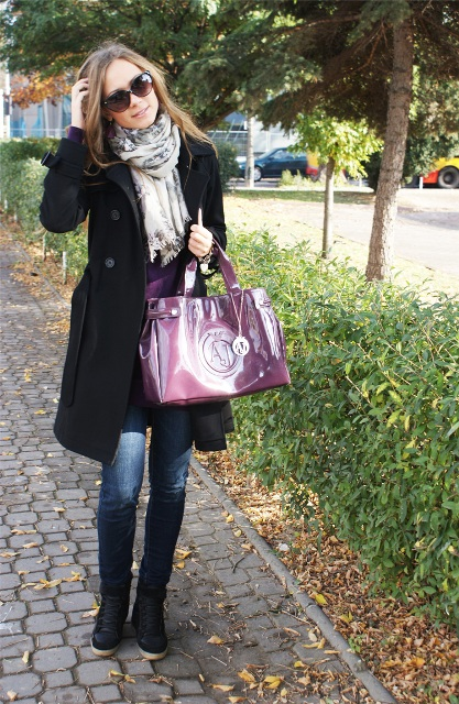 With jeans, sneakers, scarf and black coat