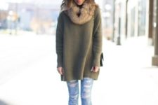With loose sweater, distressed skinny jeans, leopard shoes and bag
