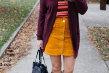 With marsala cardigan, suede skirt, beige suede high boots and black tote