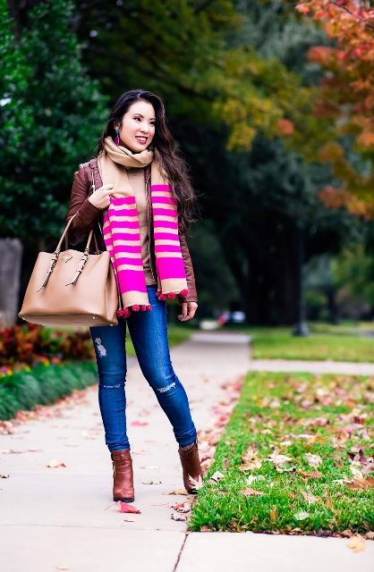 With marsala jacket, brown shirt, skinny jeans, brown tote and ankle boots