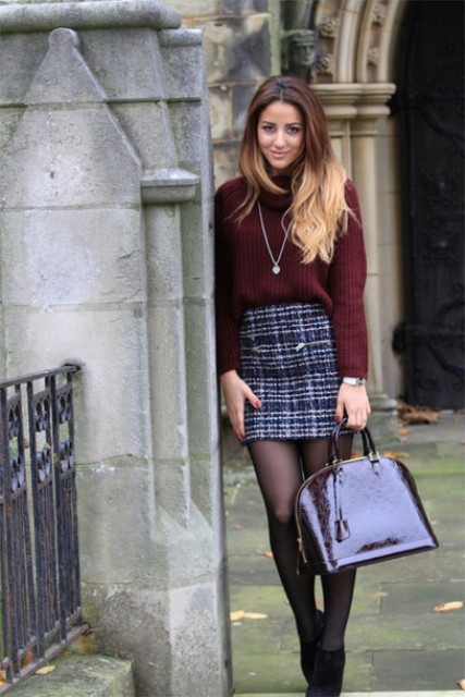 With marsala sweater, printed mini skirt and ankle boots