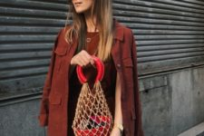 With midi dress and suede jacket