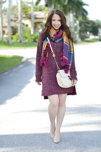With mini dress, white crossbody bag and beige shoes