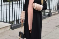 With pale pink sweater dress, mini bag and over the knee boots
