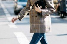 With plaid blazer, skinny jeans and black clutch