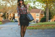 With plaid shirt, black bag and red pumps