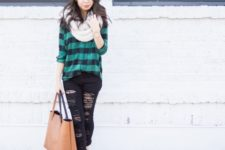 With plaid shirt, distressed jeans, shoes and tote