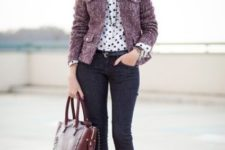 With polka dot shirt, skinny jeans, marsala bag and black shoes