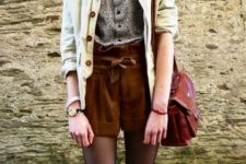 With printed button down shirt, jacket and leather bag