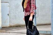 With printed shirt, marsala vest, wide brim hat, black trousers and marsala leather ankle boots