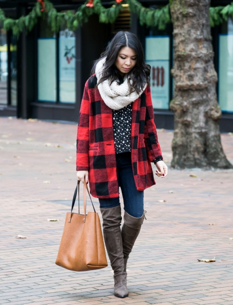 With printed shirt, skinny jeans, plaid coat, over the knee boots and brown tote