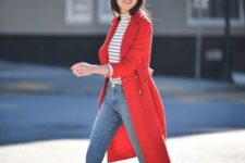 With red coat, skinny jeans and beige pumps