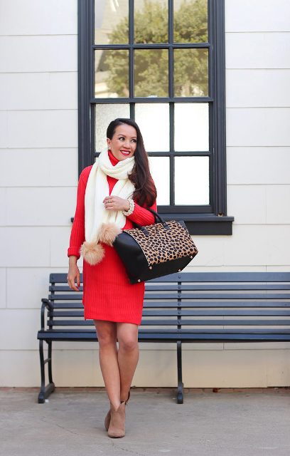 With red dress, leopard printed bag and suede ankle boots
