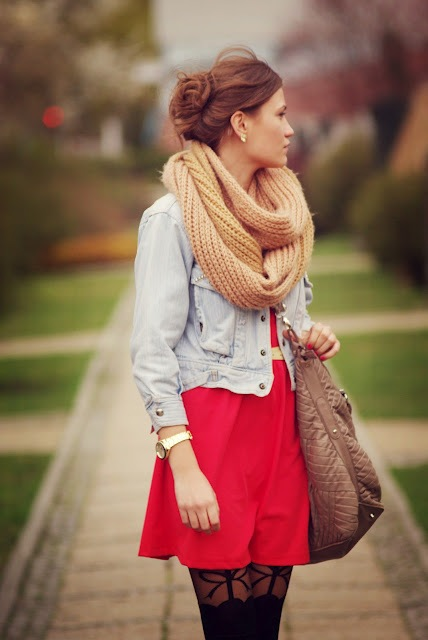 With red mini dress, denim jacket, tote and printed tights