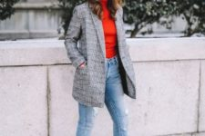 With red turtleneck, checked blazer, jeans and ankle boots