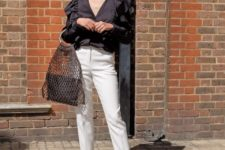 With ruffled blouse, white trousers and white shoes