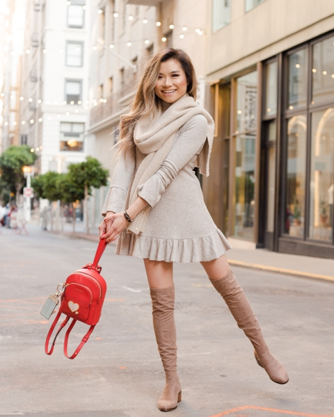 With ruffled dress, scarf and suede over the knee boots