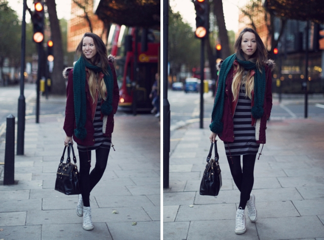 With striped dress, marsala jacket, black tights, black bag and white sneakers