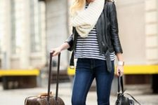 fall layered look with a striped shirt