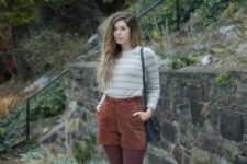 With striped sweater, marsala tights, black bag and flat shoes