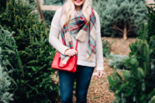 gorgeous winter look with a plaid scarf