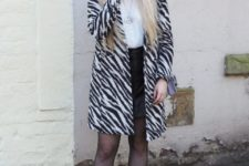 With white blouse, black mini skirt, mini bag and white ankle boots