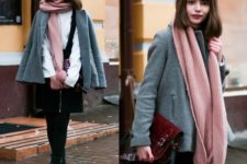 With white blouse, black skirt, black tights, gray mini coat and marsala suede bag