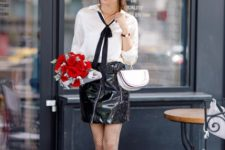 early fall look with a leather skirt